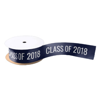 Graduate Class Of 2018 White Typography Navy Blue Satin Ribbon
