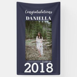Graduate Congratulations Navy Blue Photo Yard Sign