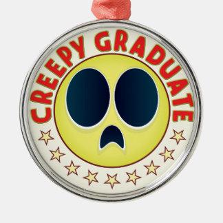 Graduate Creepy Silver-Colored Round Decoration