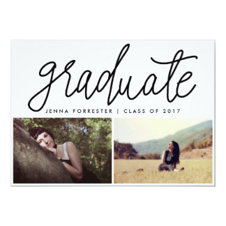 Graduate Cute Script Two Photos Casual Black Card
