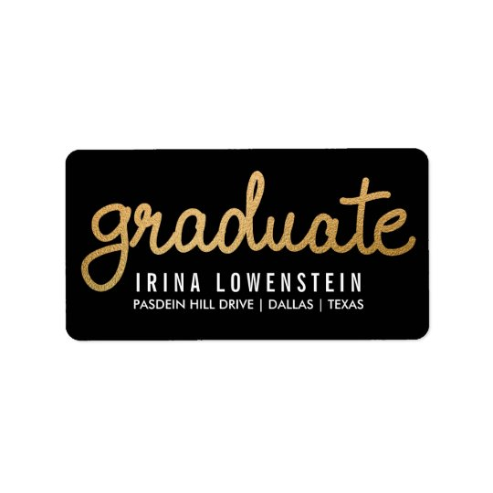 Graduate Faux Gold Foil Typography Black Address Label