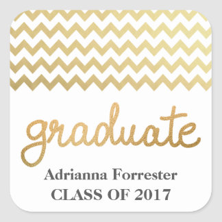 Graduate Faux Gold Foil Typography Chevron Pattern Square Sticker