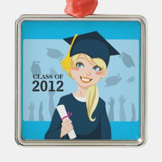 Graduate Girl Silver-Colored Square Decoration