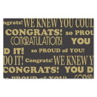 Graduate Gold and Black Congratulations Tissue Paper