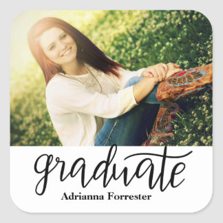Graduate Handwritten Script Photo Square Sticker