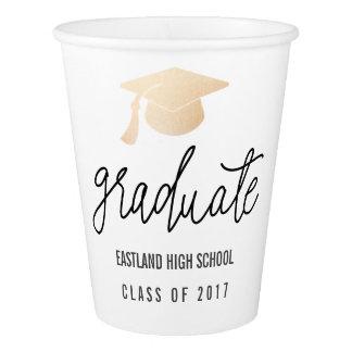 Graduate Handwritten Script Rose Gold  Hat Paper Cup