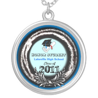Graduate Medal Honor Class Of 2011 Necklace Blue