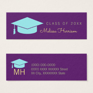 graduate name card, elegant class of, purple mini business card