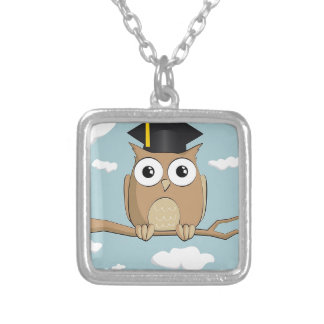 Graduate Owl Silver Plated Necklace