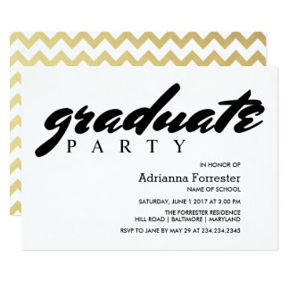Graduate Party Faux Gold Foil Chevron Pattern Card