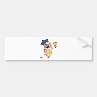 Graduate Pencil Cartoon Character Ringing A Bell Bumper Sticker