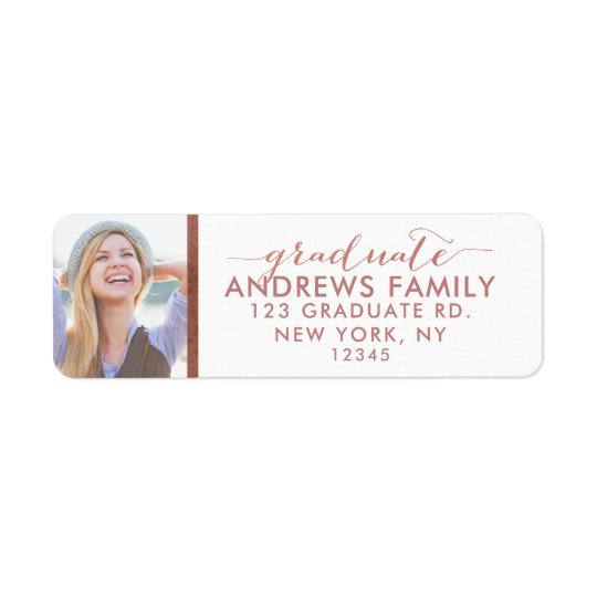 Graduate Photo Custom Rose Gold Return Address Label
