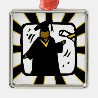 Graduate Receiving Diploma (1) Black & Gold Silver-Colored Square Decoration