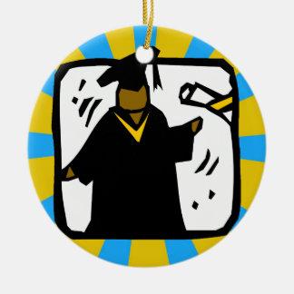 Graduate Receiving Diploma - Gold & Lt Blue Round Ceramic Decoration