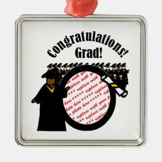 Graduate Receiving Diploma Photo Frame Silver-Colored Square Decoration