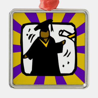 Graduate Receiving Diploma - Purple & Gold Silver-Colored Square Decoration