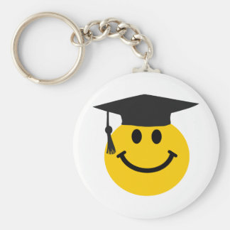 Graduate Smiley face with graduation hat Basic Round Button Key Ring