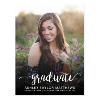 Graduate Typography Photo Graduation Announcement Postcard