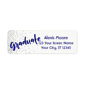 """""""Graduate"""" w/ Silver Confetti & Navy Over White Return Address Label"""