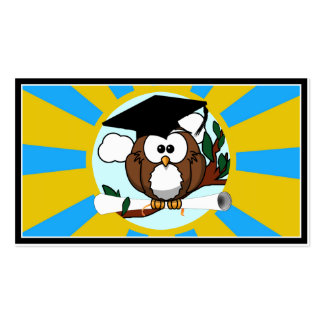 Graduating Owl w/ Blue & Gold School Colors Business Card Templates