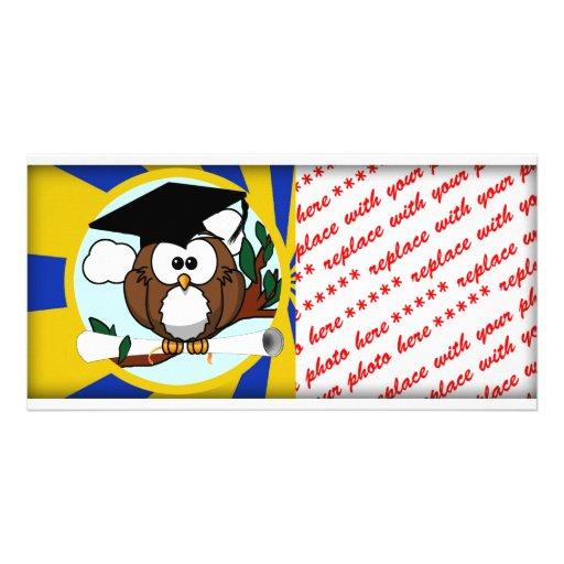 Graduating Owl w/  Blue & Gold School Colors Photo Greeting Card