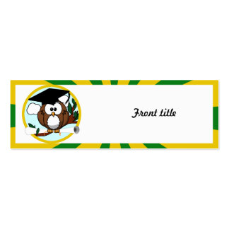 Graduating Owl w/  Green & Gold School Colors Business Cards