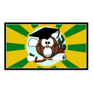 Graduating Owl w Green Gold School Colors Business Card