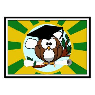 Graduating Owl w/  Green & Gold School Colors Business Card