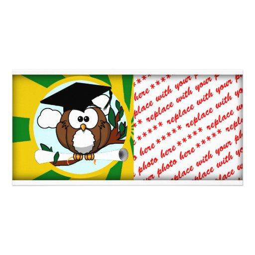 Graduating Owl w/  Green & Gold School Colors Photo Card