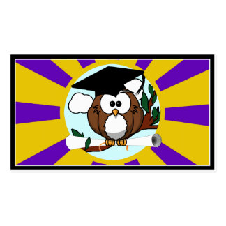 Graduating Owl w/  Purple & Gold School Colors Business Card Templates