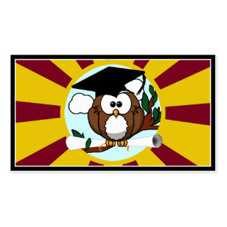 Graduating Owl w/  Red & Gold School Colors Business Cards