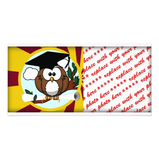 Graduating Owl w/  Red & Gold School Colors Photo Card Template