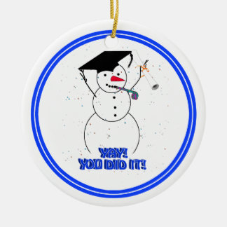 Graduating Snowmen - YAY! You did it! Round Ceramic Decoration