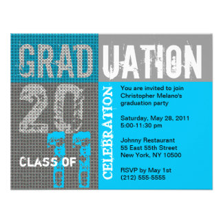 Graduation 2011 Party Invitation Blue Grey