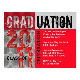Graduation 2011 Party Invitation Red Grey