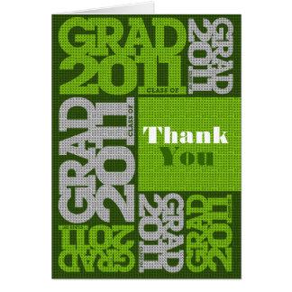 Graduation 2011 Thank You Card Pattern Green