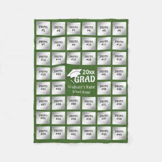 Graduation 44 Photo Collage (Editable GREEN) Fleece Blanket
