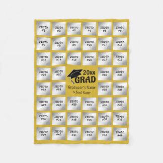 Graduation 44 Photo Collage (Editable YELLOW GOLD) Fleece Blanket