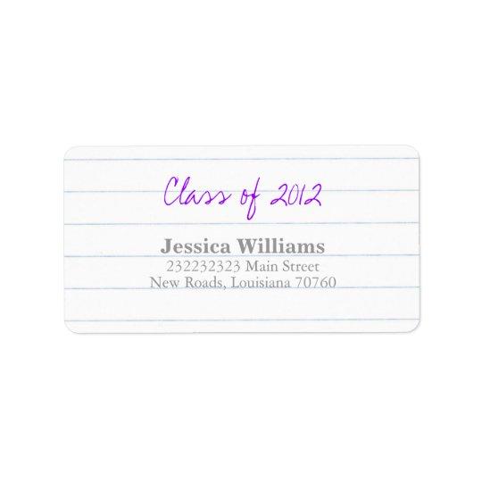 Graduation Address Label