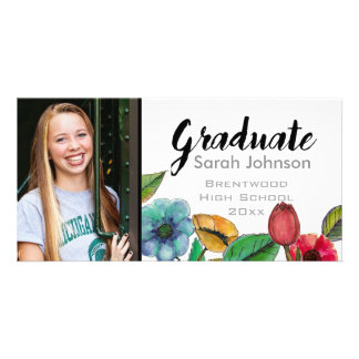 Graduation announcement for girls watercolor custom photo card