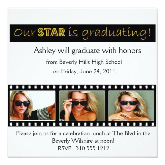 Graduation Announcement Hollywood Star Gold