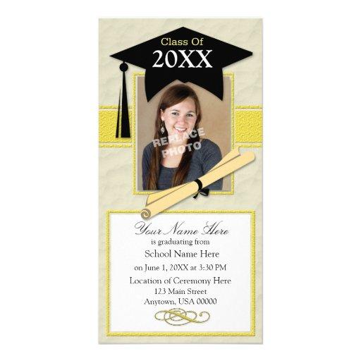Graduation Announcement Photo Card-Black & Yellow