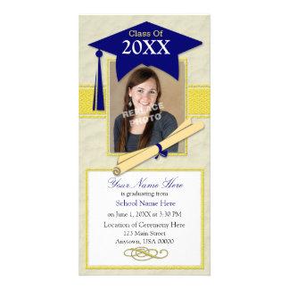 Graduation Announcement Photo Card - Blue & Yellow