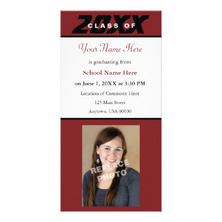 Graduation Announcement Photo Card-Red and Black