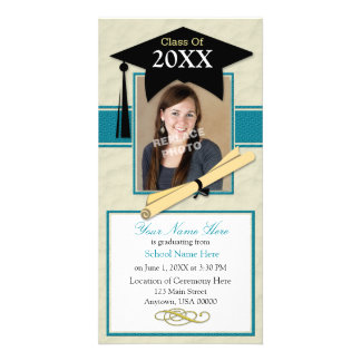 Graduation Announcement Photo Card - Teal & Black
