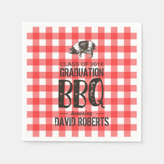 Graduation BBQ Party Red Gingham Pig Roast Paper Napkin