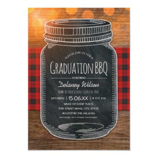 Graduation BBQ Party Rustic Chalkboard Mason Jar Card
