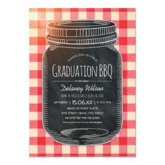 Graduation BBQ Party Vintage Chalkboard Mason Jar Card