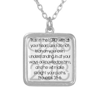 Graduation bible verse Proverbs 3:5-6 necklace