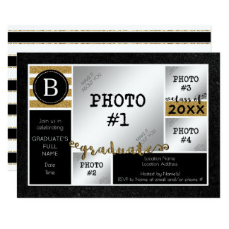 Graduation Black & Gold Glitter 4-Photo Card